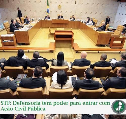 STF julga constitucional a atribuição da Defensoria em propor ação civil pública